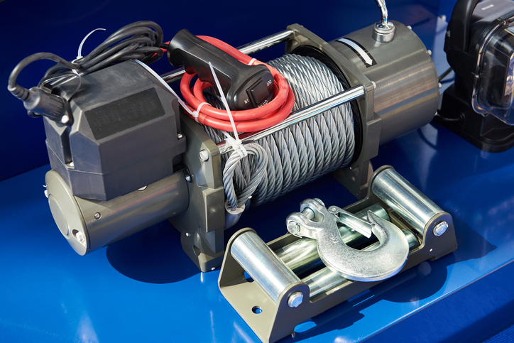 Car Winch with a steel cable and a hook