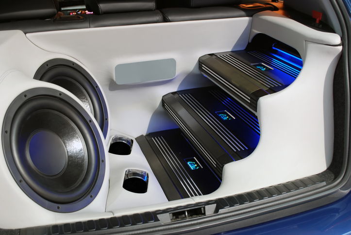 Subwoofers placed in the trunk